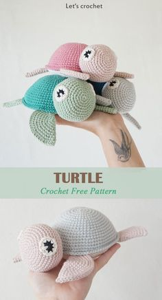 Crochet Amigurumi Patterns Crochet Turtle Toy Free Pattern - This Crochet Turtle Toy Free Pattern makes a cute and simple toy for small children to play with. Make one now with the free pattern provided by the link below. Crochet Simple, Crochet Diy, Crochet Amigurumi Free Patterns, Crochet Animal Patterns, Stuffed Animal Patterns, Crochet Crafts, Crochet Dolls, Crochet Projects, Crochet Turtle Pattern Free