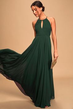 Hunter Green Maxi - Apron Maxi Dress - Bridesmaid Gown Christmas Bridesmaid Dresses, Olive Green Bridesmaid Dresses, Emerald Bridesmaid Dresses, Bridesmaid Dresses Under 100, Bridesmaid Dresses Plus Size, Bridesmaid Ideas, Grad Dresses, Elegant Maxi Dress, Lace Dress