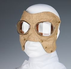 This pair of motoring goggles is a well-made example of a component of the motoring ensemble. The ensemble could include a duster, a hat, with a veil that covered the face for women, and gloves. The eye pieces on this pair are constructed on a slant with screw fittings on the lense frames for removal. - See more at: http://metmuseum.org/Collections/search-the-collections/80095774#fullscreen