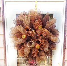 Burlap Fall Wreath ~ Autumn Wreath for Front Door ~ Outdoor Fall Wreath…
