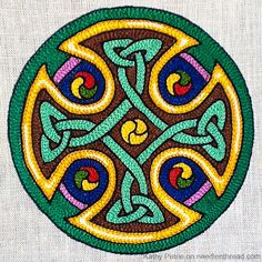Pattern for celtic knot is lso available  at this site. Celtic Cross in Tambour Embroidery