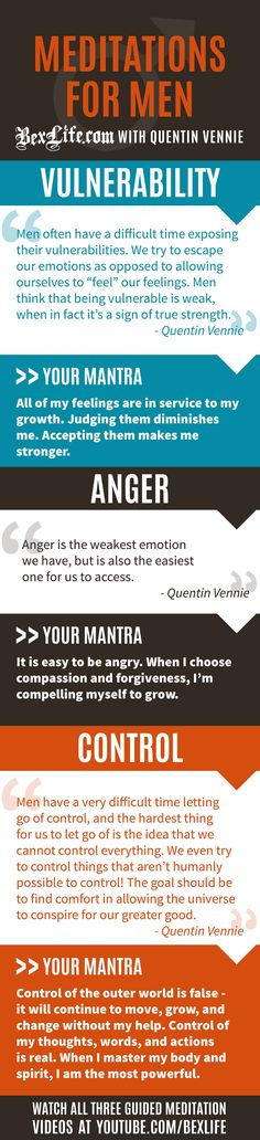 Three meditation videos for men on the topics of anger, vulnerability, and control. Watch all three at BexLife.com.