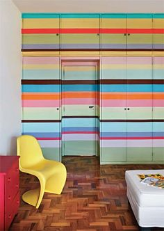 multi colored horizontal striped wall