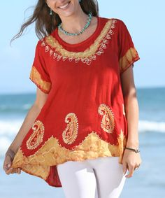 Love this Red & Gold Paisley Tunic - Women on #zulily! #zulilyfinds
