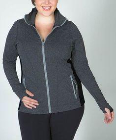 Lola Getts Gray Plus-Size Track Jacket