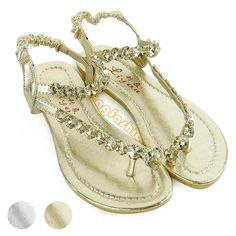 62156cfdb New T-Strap Sandals Womens Rhinestone Flats Shoes Slides Gladiator Thongs.  Gail DiBiase