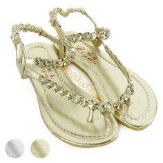 c3eb672734e8 New T-Strap Sandals Womens Rhinestone Flats Shoes Slides Gladiator Thongs.  Gail DiBiase