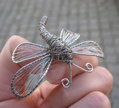 Dragonfly brooch- stainless steel wire.