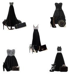 """Black prom sets"" by galacticpeanut ❤ liked on Polyvore featuring Te Amo, Dolce&Gabbana, Alexandre Birman, Daya, Jimmy Choo, Prada, Charlotte Olympia, Preciously and White House Black Market"