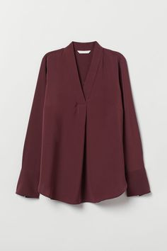 V-neck Blouse - Dark red - Ladies | H&M US