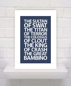 Sandlot Quote - Babe Ruth - 11x17 - poster print on Etsy, $12.00