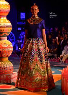Blue Lehenga. Manish Arora. DCW. 2013. Women's Fashion. Indian Couture.