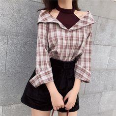 BlackPink Chic Grid Off-Shoulder-Shirt - Neuankömmling . - BlackPink Chic Grid Off-Shoulder-Shirt – Neuheit - Korean Fashion Trends, Korean Street Fashion, Korea Fashion, Asian Fashion, Korean Spring Fashion, Japanese Fashion, Mode Outfits, Korean Outfits, Casual Outfits