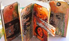 encaustic tag accordion book by Dina Wakley Art Journal Backgrounds, Art Journal Pages, Art Journaling, Handmade Tags, Handmade Books, 8th Grade Art, Accordion Book, Art Diary, Creative Journal