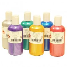 6 pk of fabric paints - standard, neon and pearl sets available.