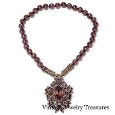 HSN Heidi Daus Dazzling Decade Crystal Pendant Pin & Bead Necklace AUBERGINE #HeidiDaus