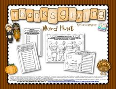Thanksgiving Word Hunt fun with magnifying glasses (Kindergarten and First Grade Word Work/Literacy for Thanksgiving) $