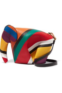 Loewe's iconic 'Elephant' shoulder bag is updated in vibrant rainbow striped leather. It has been carefully cut, shaped and stitched by hand in the label's atelier and punctuated with gleaming gold hardware. Use the detachable shoulder strap or carry it as a clutch.