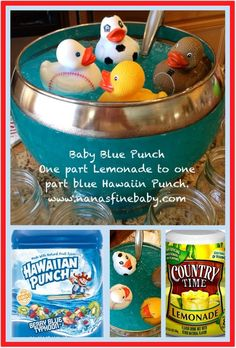 Baby Blue Punch one part lemonade to one part blue Hawaiin Punch, that's it! So … Baby Blue Punch one part lemonade to one part blue Hawaiin Punch, that's it! So easy and so good! Baby Shower Drinks, Baby Shower Duck, Rubber Ducky Baby Shower, Baby Shower Themes, Shower Ideas, Shower Party, Ducky Baby Showers, Shower Gifts, Gender Reveal Food