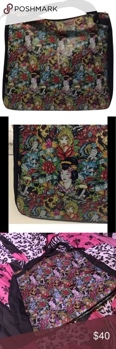"""Ed Hardy Large Tote Multidesign Faux Leather Bag Ed Hardy Large Tote Multidesign Faux Leather Bag. 16""""x14.5""""x8"""" Skulls & Pretty Ladies Roses - True to My Love. Ed Hardy Bags Totes"""