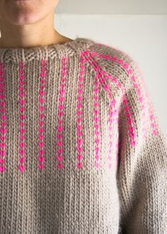 The Purl Soho Friendly Fair Isle Sweater love that neon pink!
