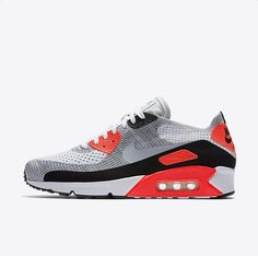 on sale 9c40e c3685 Chaussure Nike Air Max 90 Pas Cher Homme Ultra 2 0 Flyknit Blanc Cramoisi  Brillant Noir