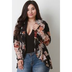 Floral Semi-Sheer Mesh Blazer ($62) via Polyvore featuring outerwear, jackets, blazers, women's plus size jackets, plus size jackets, womens plus jackets, floral-print blazers and womens plus blazer