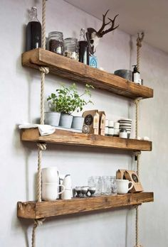 Easy and Stylish DIY wooden wall shelves ideas. Easy and Stylish DIY wooden wall shelves ideas. Farm House Living Room, Diy Wooden Wall, Rustic Furniture, Wooden Wall Shelves, Home Decor, Popular Living Room, Living Decor, Wooden Diy, Rustic House