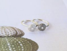 Sea Urchin Stacking Rings in Sterling Silver.  Teen Girl Birthday Gift, Ocean Beach Nautical Jewelry, Surfer Ring, Boho Style Jewellery by apetitesparkle on Etsy