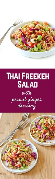 This Thai freekeh salad with peanut ginger dressing packs a punch of flavor and nutrition. It keeps great in the fridge - perfect for weekend food prep! Get the easy and healthy recipe on RachelCooks.com!
