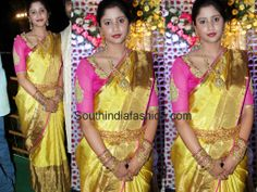 Celebrity in Golden Yellow Bridal Saree ~ Celebrity Sarees, Designer Sarees, Bridal Sarees, Latest Blouse Designs 2014 South India Fashion