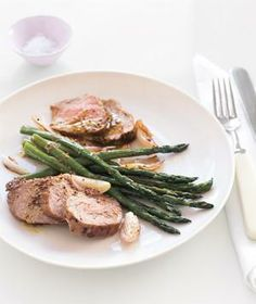 Roast Pork and Asparagus With Mustard Vinaigrette recipe from realsimple.com #myplate #protein #vegetables