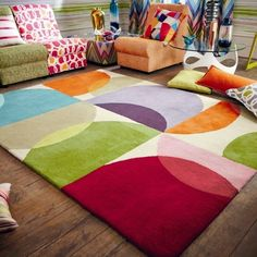 Scion Kaleido Rugs offer a stylish pop art design with a selection of fashionable colour shades. Modern Fabric, Modern Rugs, Retro Bedrooms, Pop Art Design, Grid Design, Cute House, Scion, Carpet Design, Room Rugs