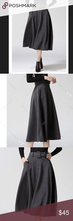 Available Soon midi skirt Gray high waisted tweed midi skirt, cotton blends and wool, A line mid calf, best for fall or winter. W 26.5 L 31.5 Skirts Midi