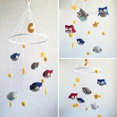 Babymobile mit Eulen, Sterne&Mond und Kugeln