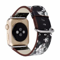 TCSHOW For Apple Watch Band Soft PU Leather Pastoral/Rural Style Flower Pattern Replacement Strap Wrist Band with Silver Metal Adapter for both Series 1 and Series 2 (D) Apple Watch 1, Apple Watch Bands 42mm, Apple Watch Series 1, Apple Watch Leather Strap, Leather Watch Bands, Apple Watch Replacement Bands, Apple Watch Bands Fashion, Apple Watch Wristbands, Leather Design