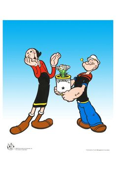 Popeye and Olive Oyl. (Yes the spelling is correct!) I sat glued to the antics of Popeye, Olive and Bluto, especially when Popeye came to Olive's rescue after he had eaten his can of spinach and became strong enough to beat Bluto at whatever he was doing. Betty Boop, Vintage Cartoons, Vintage Comics, Classic Cartoon Characters, Classic Cartoons, Animated Icons, Animated Cartoons, Cartoon Pics, Cartoon Drawings
