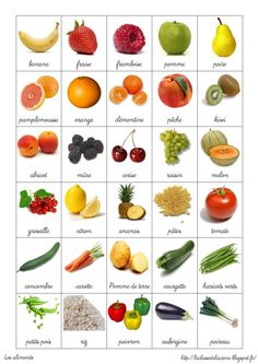 Fruits & vegetables in french - French Language Lessons, French Language Learning, French Lessons, French Flashcards, French Worksheets, French Teaching Resources, Teaching French, Teaching Kids, French Education