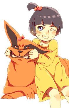 Himawari and Kurama say chees! ;3 #naruto