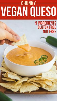 The ULTIMATE Vegan Queso! Made with only 9 Ingredients, this spicy dairy-free dip is healthy, vegan, and gluten-free. Perfect with Chips or on Burritos, Tacos, and more!