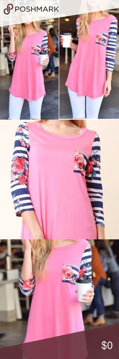 Pink Striped Floral Top 3/4 length sleeve pink, striped and floral top with pocket. Made of rayon and spandex. High quality, comfortable material. Twilight Gypsy Collective Tops Tees - Long Sleeve