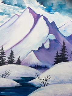 Snow Mountain Summit - Paint Nite Painting