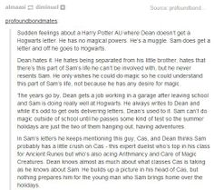 Amazing little Spn/Harry Potter crossover. I just want to bury myself in this AU and never emerge.