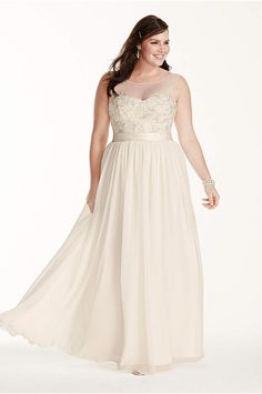 3fb64e3721 Illusion Tank Plus Size Wedding Dress with Lace - Leave your guests  speechless in this stunningly