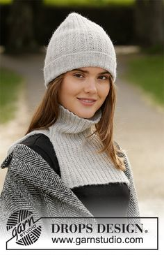 Knitted hat and neck warmer in DROPS BabyMerino. Piece is knitted with texture. Drops Design, Knitting Patterns Free, Knit Patterns, Free Knitting, Drops Patterns, Diy Vetement, Crochet Diagram, Garter Stitch, Knit Fashion