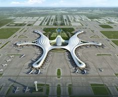 France's ADP Ingenieri (ADPI) has defeated Zaha Hadid Architects in the competition for Chengdu's new billion airport Vintage Architecture, Concept Architecture, Futuristic Architecture, Amazing Architecture, Architecture Design, Ouvrages D'art, Zaha Hadid Architecture, Airport Design, Futuristic City