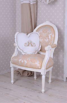 Armlehnstuhl Rokoko Sessel Vintage Stuhl Barock Weiss Creme