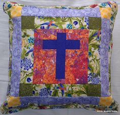 Cross pillow I made for my God-Daughter for her 1st Holy Communion.  FREE Pattern/ picture tutorial coming soon :-)