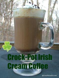 Crock-Pot Irish Cream Coffee! A adult beverage perfect for St. Patrick's Day. {via CrockPotLadies.com}