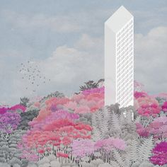 Carlalberto Amadori - Torre Italia, Project for monumental tower post Expo, 2014 Collage Architecture, Architecture Drawing Sketchbooks, Landscape Architecture Drawing, Architecture Visualization, Architecture Graphics, Photomontage, Axonometric Drawing, Cool Landscapes, Collage